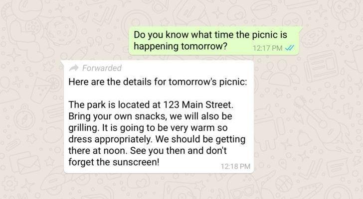 whatsapp reenvio de mensajes