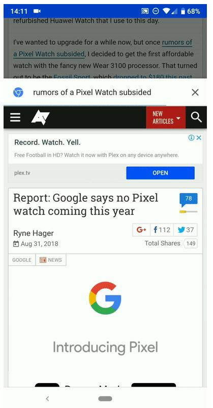 """""""Sneak Peak"""" es la nueva función de Google Chrome"""