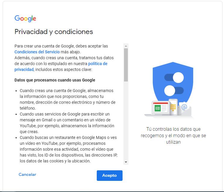 términos y condiciones de gmail