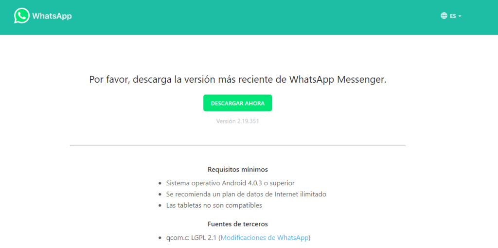 descargar e instalar Whatsapp sin PlayStore