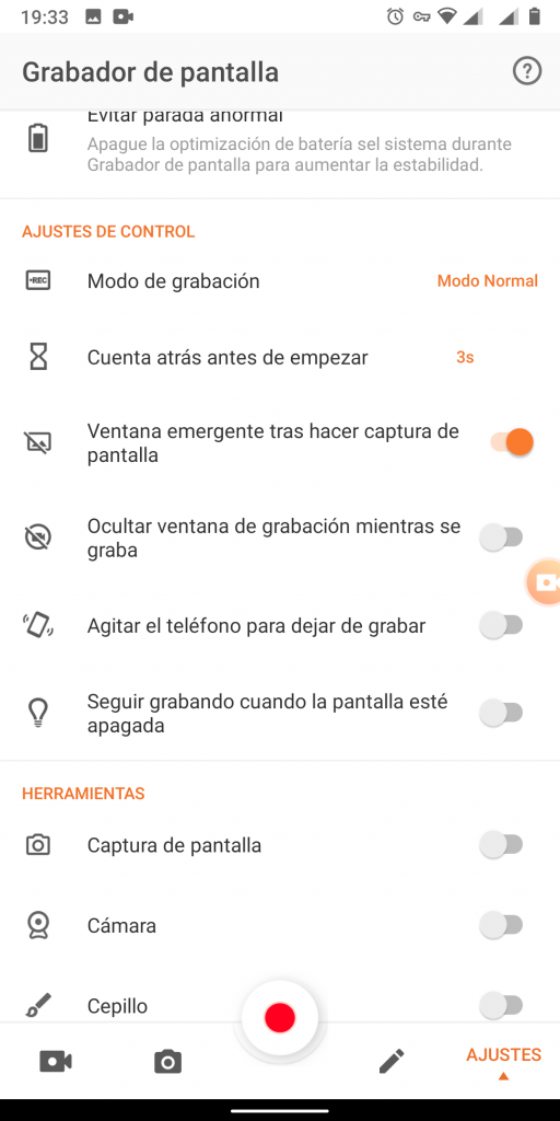 grabar pantalla en android xrecorder