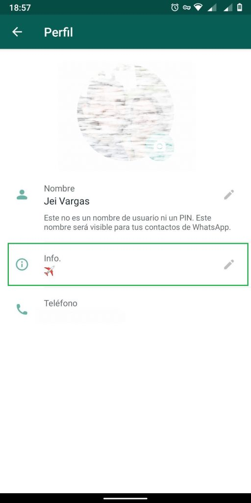 opciones de perfil en whatsapp