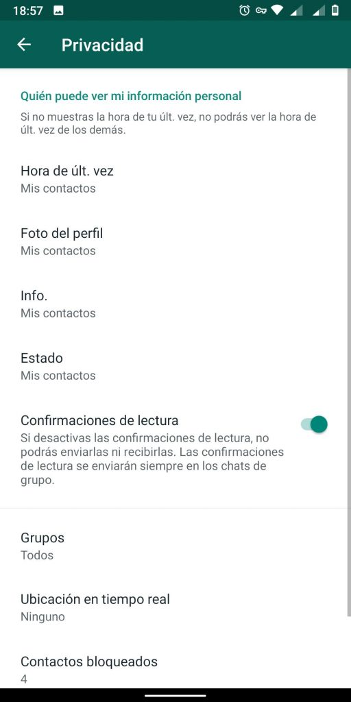 opciones de privacidad en Whatsapp