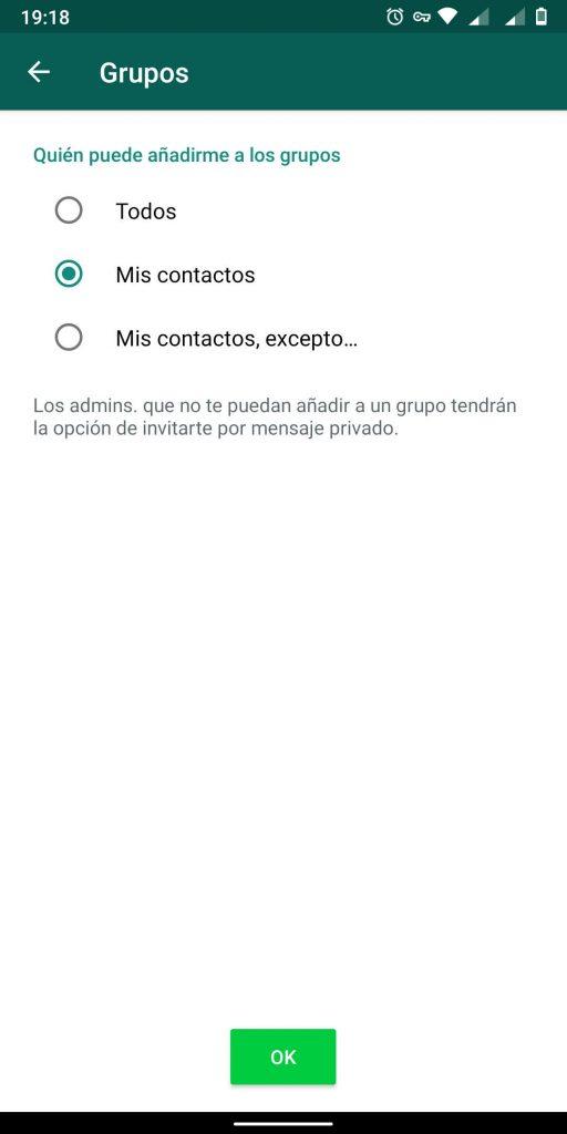 opciones de grupos en whatsapp