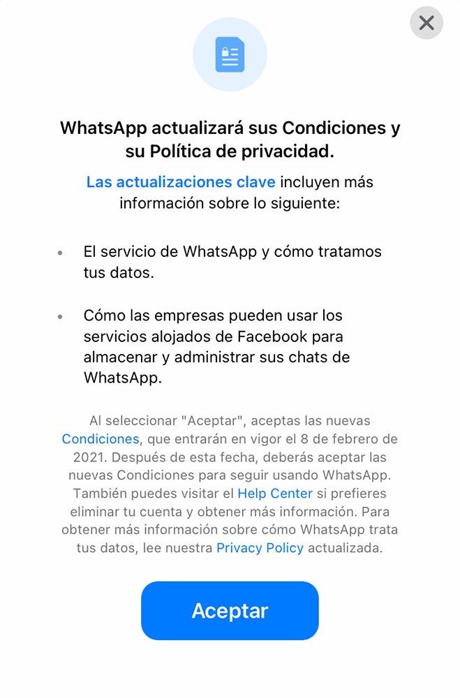 Nuevas políticas de Whatsapp